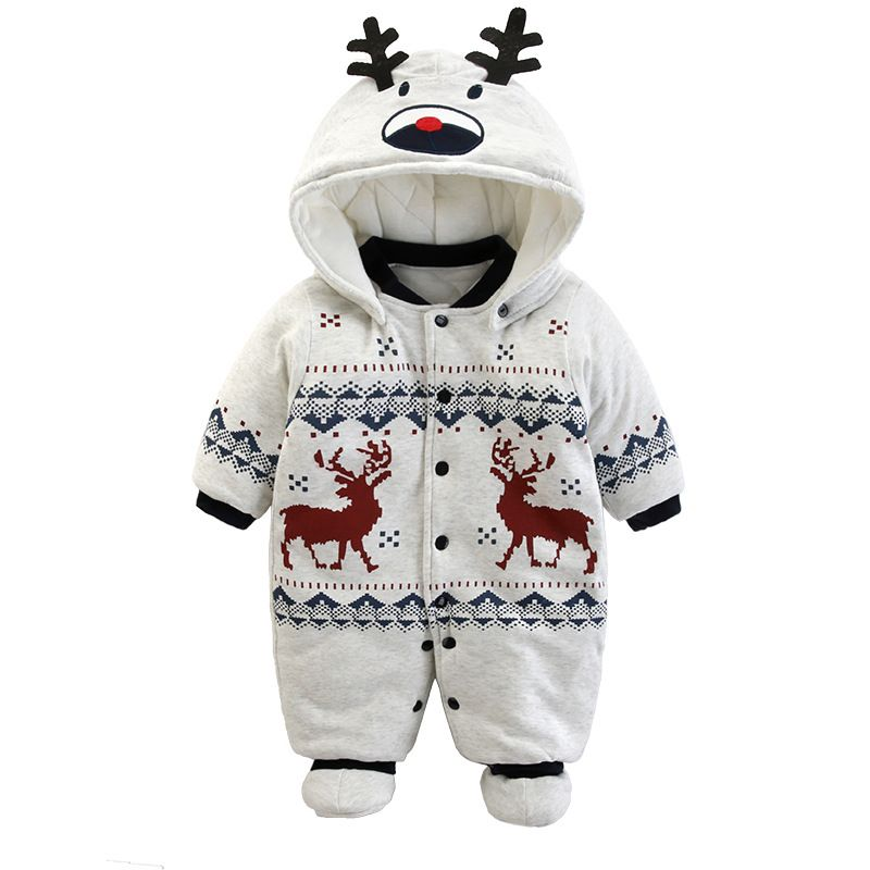 Baby Rompers Winter Thick Warm fleece Hoodies baby girls boys Jumpsuit newborn toddle clothing CottonOverall kids outwear 3-24M