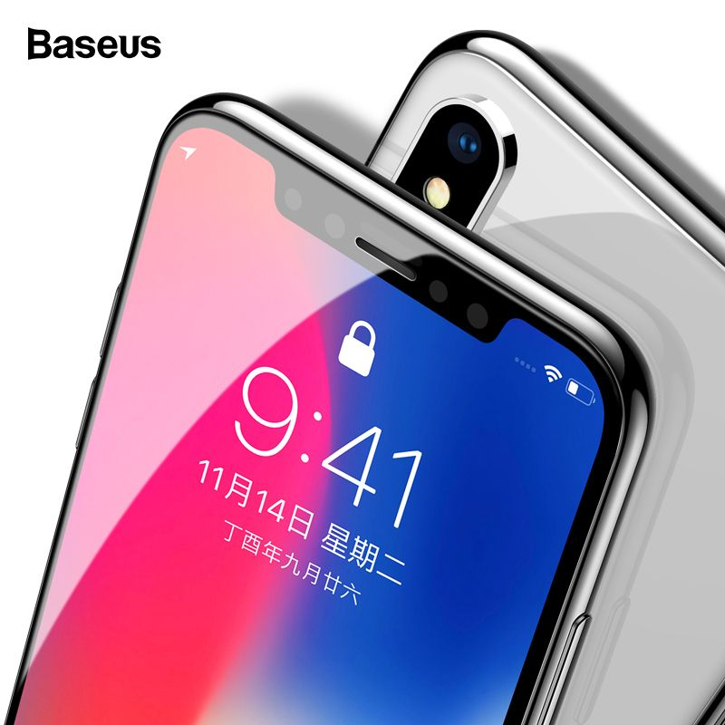 Baseus 0.3mm Screen Protector Tempered Glass For iPhone X 10 PET Edge 3D Full Cover Protection Toughened Glass Film For iPhoneX