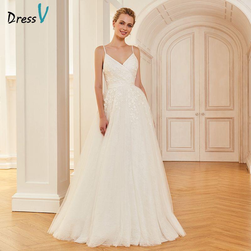 Dressv marfil elegante spaghetti straps vestido de novia una línea longitud del piso al aire libre y la Iglesia apliques vestidos de novia