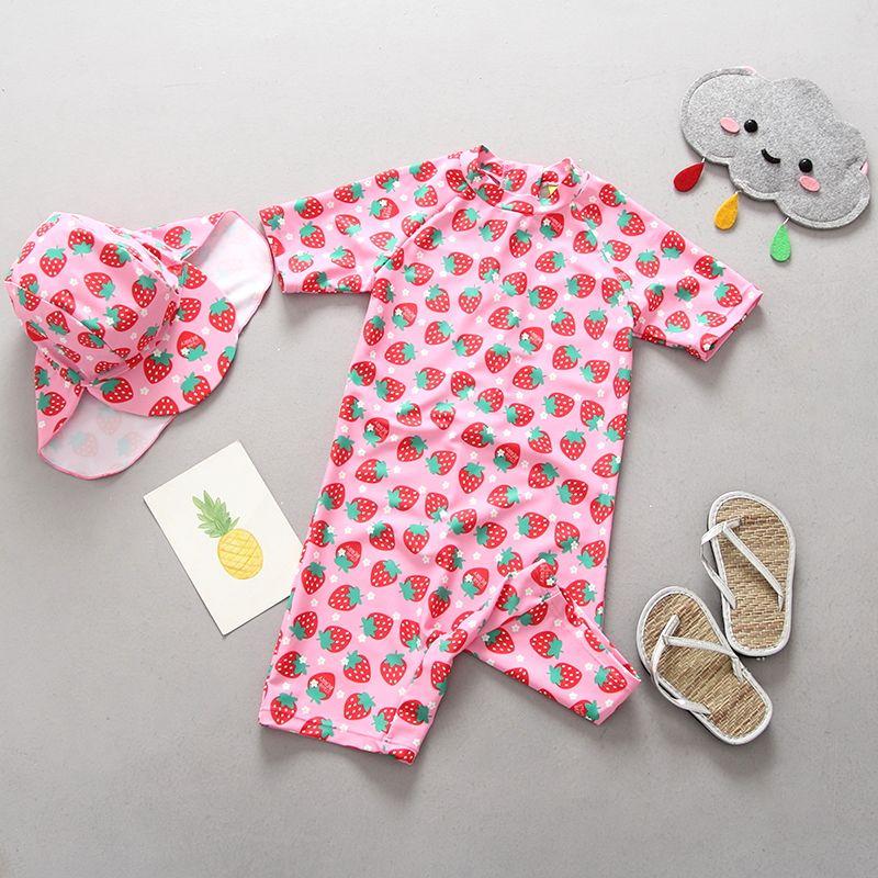 2018 Trendy Bademode Baby Mädchen Ein Stück Anzug Erdbeeren Druck Badeanzug für Mädchen Schwimmen Badeanzug Mädchen badeanzüge