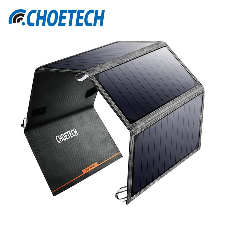 CHOETECH 24W Solar Charger for iPhone 7/6 Dual USB Port Portable Solar Mobile Phone Charger for Samsung S8/S7 Solar Power Panel