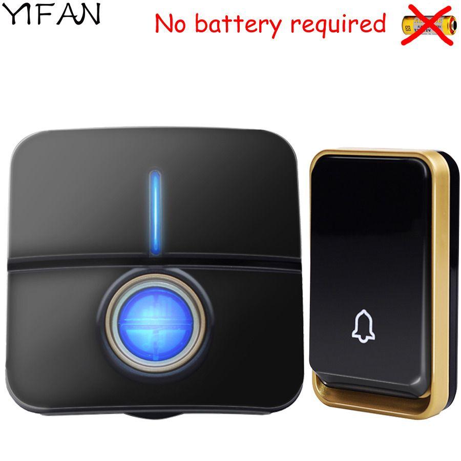 YIFAN nouvelle sonnette sans fil pas de batterie étanche 150 M à distance EU Plug lumière LED maison porte sonnette carillon 1 2 bouton 1 2 récepteur