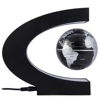 Novedad C Forma noche luz LED mapa del mundo flotante globo magnético levitación luz regalo de cumpleaños decoración del hogar iluminación de la lámpara de noche