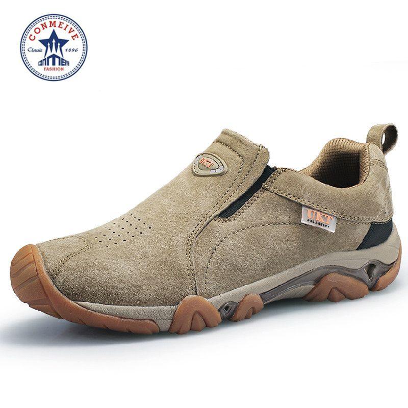 Sapatilhas chaussure limitée chaussures de marche trekking camping marque sport cuir hommes nouvelles baskets respirantes moyen (B, M)