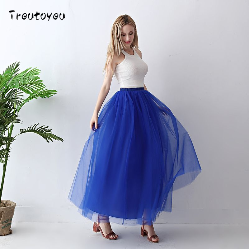 Treutoyeu 5 <font><b>Layers</b></font> Maxi Long Women Skirt Tulle Skirts Bridesmaid Wedding Skirt Free Size Faldas Saias Femininas Jupe