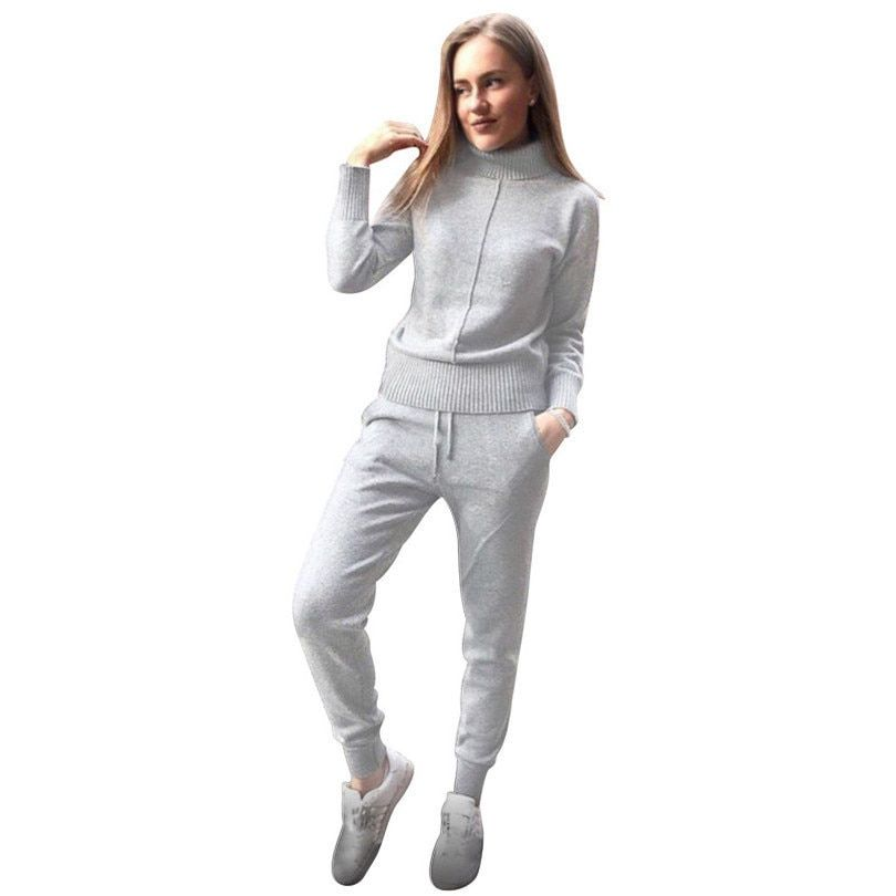 TAOVK winter Woolen and <font><b>Cashmere</b></font> Knitted warm Suit high Collar Sweater + Mink <font><b>Cashmere</b></font> Pants loose style two-piece set knit