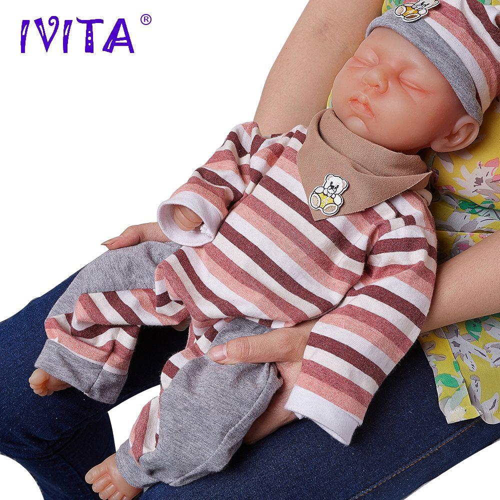 IVITA 18 pouces/3.2 kg Fille Yeux Fermé Haute Qualité Silicone Poupées Reborn Bébé Né Plein Corps En Vie Silicone poupée Avec Des Vêtements Jouets