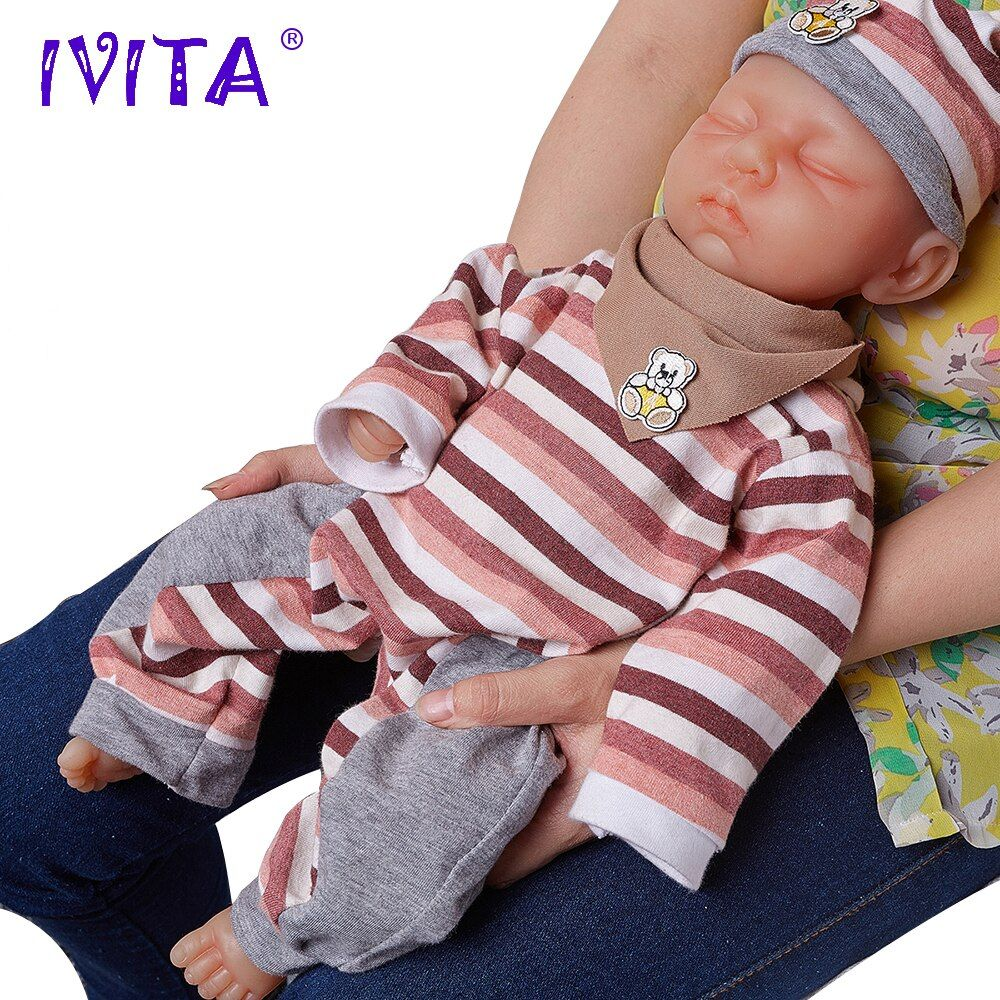 IVITA 18inch/3.2kg Girl Eyes Closed High Quality Silicone Reborn Dolls Baby Born Full Body Alive Silicone Doll With Clothes Toys