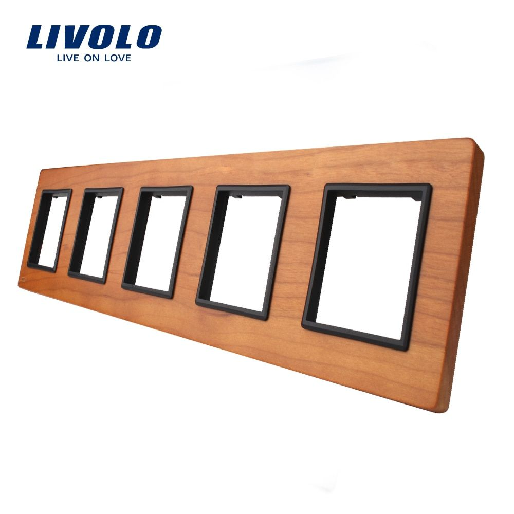 Livolo Luxury Cherry Wood  Switch Panel, 364mm*80mm, EU standard, Quintuple Wood Panel For Wall Socket,VL-C7-5SR-21