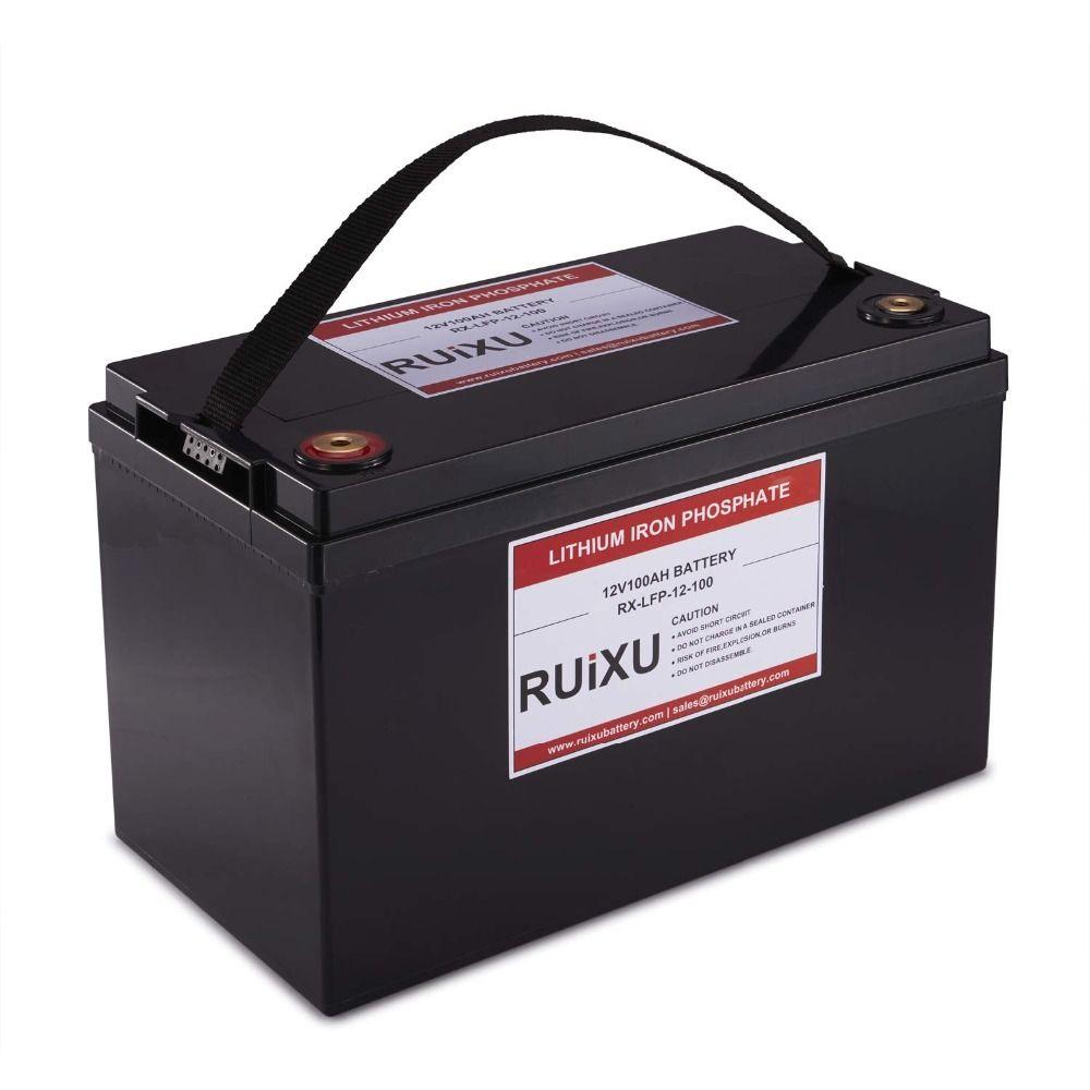 RUIXU LiFePO4 12 V 100Ah Lithium-Eisen Phosphat Batterie Pack Licht Gewicht LiFePO4 Komplette Batterie (BMS Enthalten)