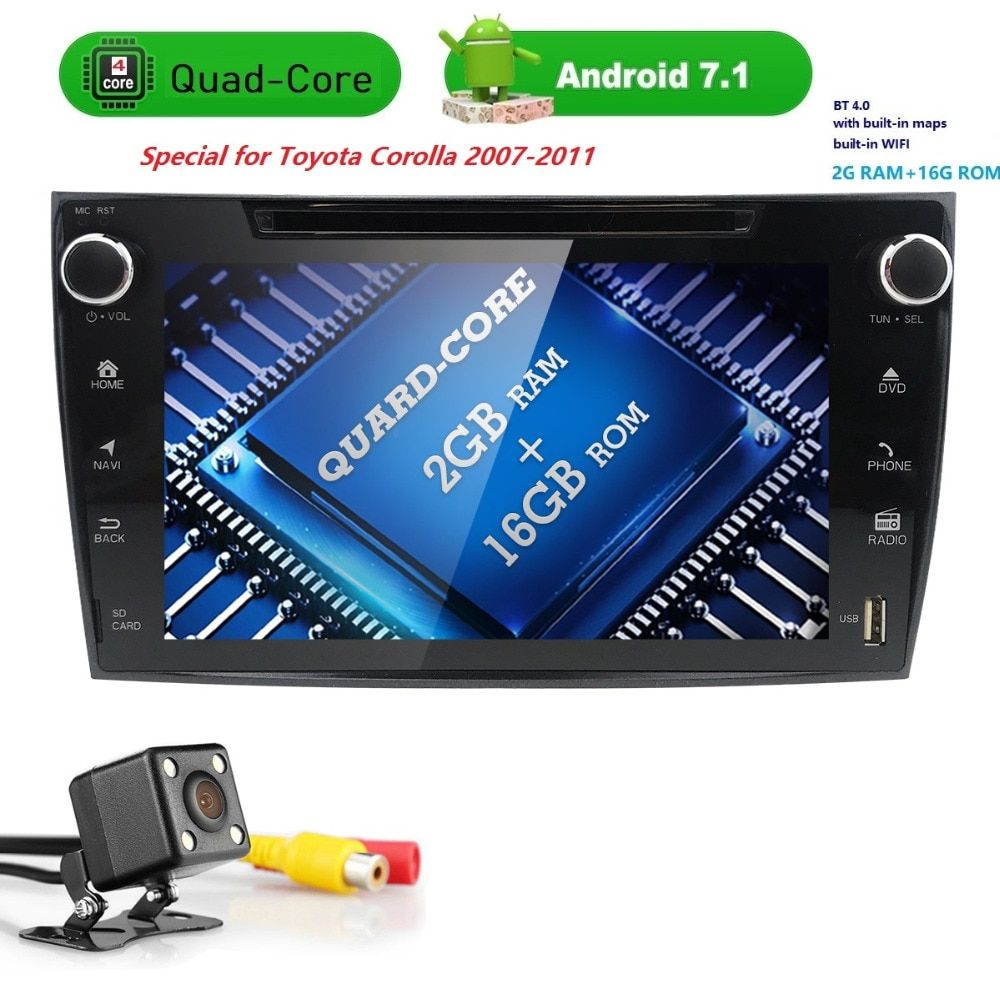 4G Wifi AutoRadio Android 7.1 2Din Car dvd player for toyota corolla 2007-2011 HDTouch Screen2G Ram16GRom GPS Navigation USB TV