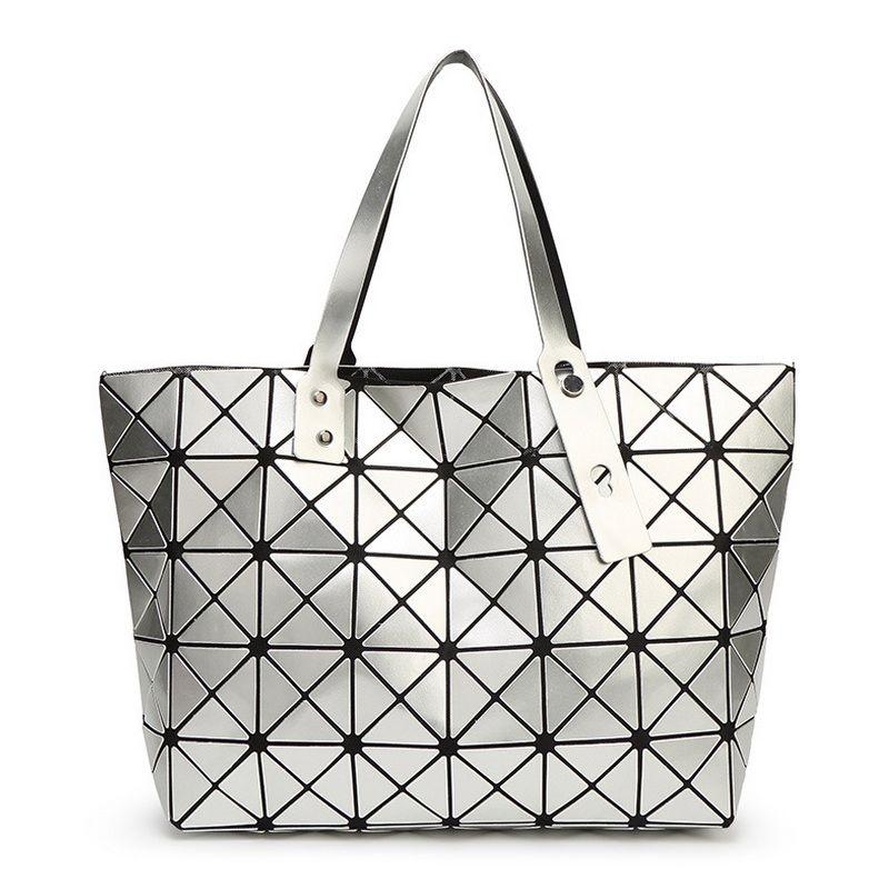 Mode pliant décontracté fourre-tout femmes géométrique Top-poignée sac femme PU sacs à bandoulière dames diamant treillis paillettes plaine sac à main