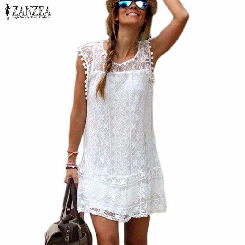 Zanzea Été Robe 2017 Sexy Femmes Casual Manches Plage Robe Courte Gland Solide Blanc Mini Robe En Dentelle Robes Plus La Taille