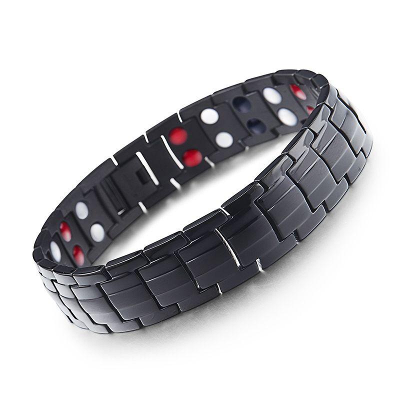 Fashion Jewelry Healing FIR Magnetic Titanium Bio Energy Bracelet For Men Blood Pressure Accessory Silver Bracelets Gift