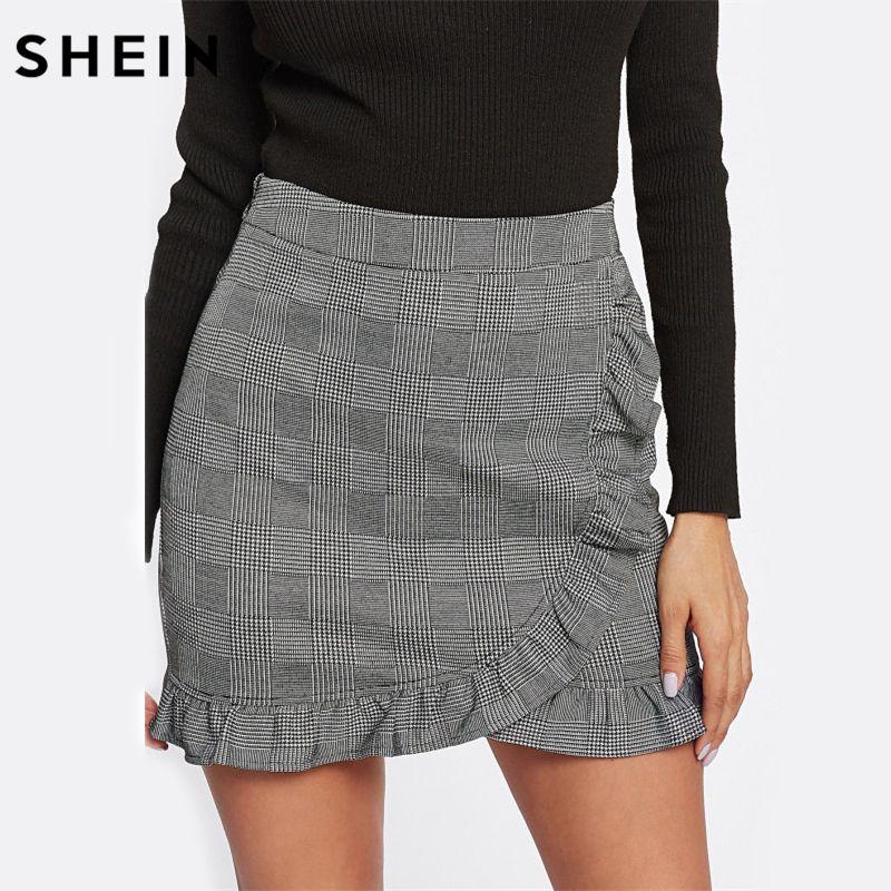 SHEIN Skirts for Women Frill Trim Plaid Wrap Skirt Grey Mid Waist Asymmetrical Sheath Skirt Ruffle Hem Casual Skirt