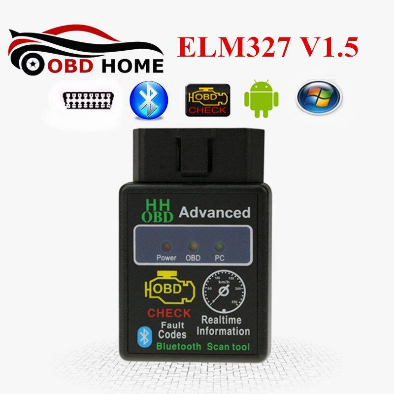 Newest Style HH OBD LM327 V1.5 Bluetooth Mini ELM 327 25K80 Chip HH OBD ELM 327 Bluetooth Car Code Reader Scanner Fast Shipping