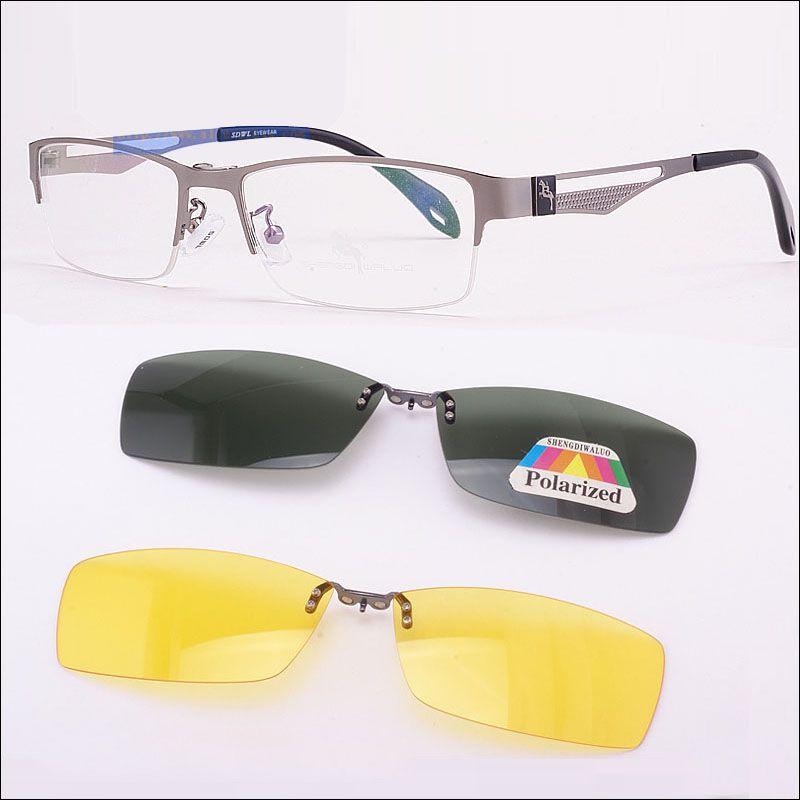 Acier inoxydable Lunettes Brun Cadre + 2 PCS Magnétique Argent Cadre lunettes de Soleil Clip UV400 Jaune Polarisées de Vision Nocturne Lunettes