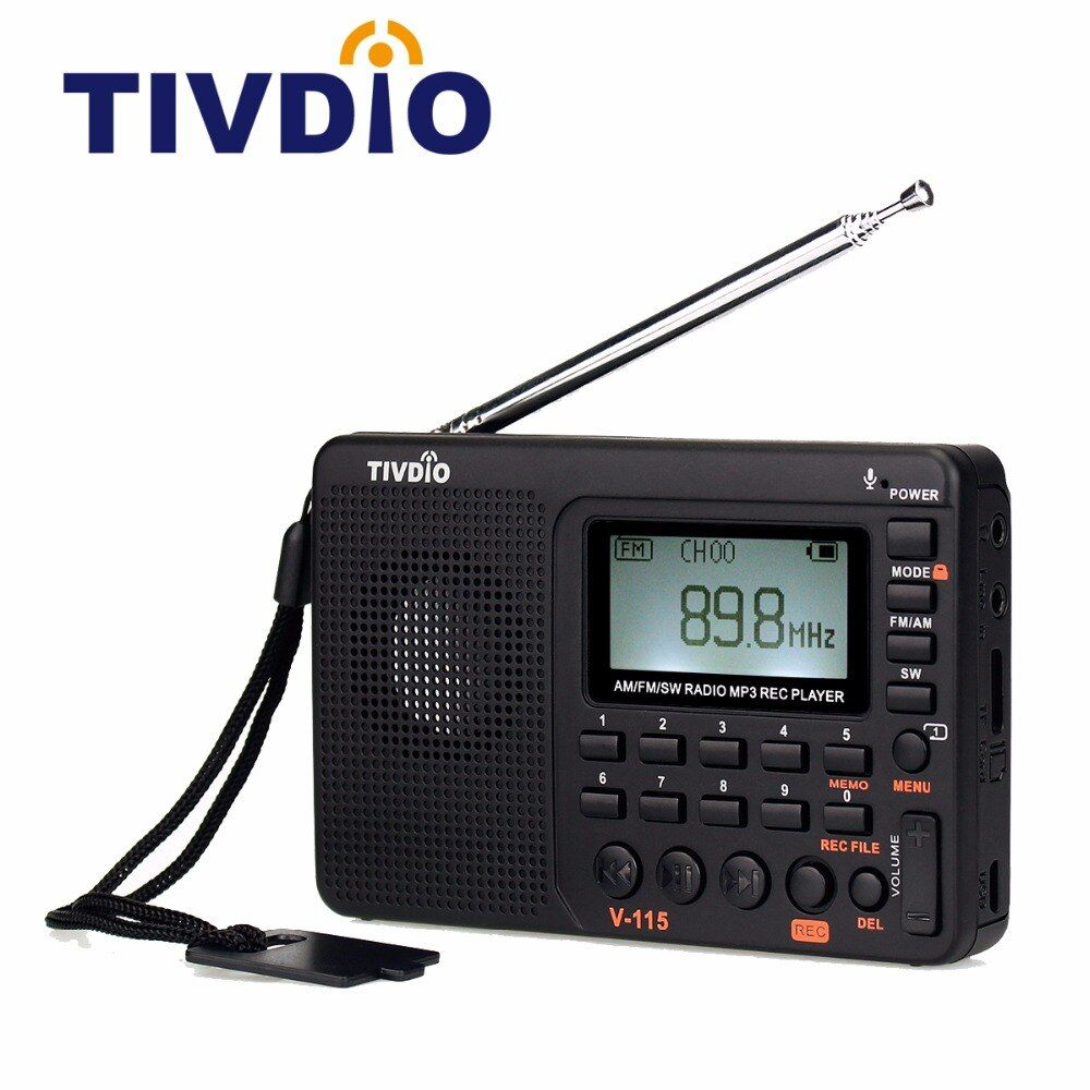 TIVDIO V-115 FM/AM/SW Radio Receiver Bass Sound MP3 <font><b>Player</b></font> REC Recorder Portable Radio with Sleep Timer F9205A
