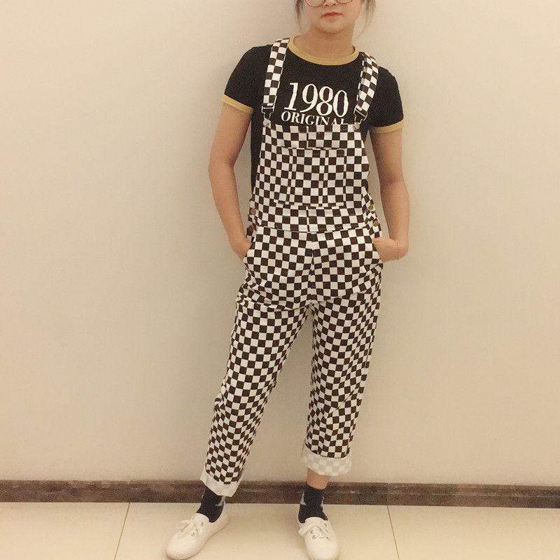 Plus Size Kpop Ulzzang Street Hiphop Straight Wide Leg Overalls Cotton Denim Pant Suspender Jumpsuit Checkerboard Plaid Trouser