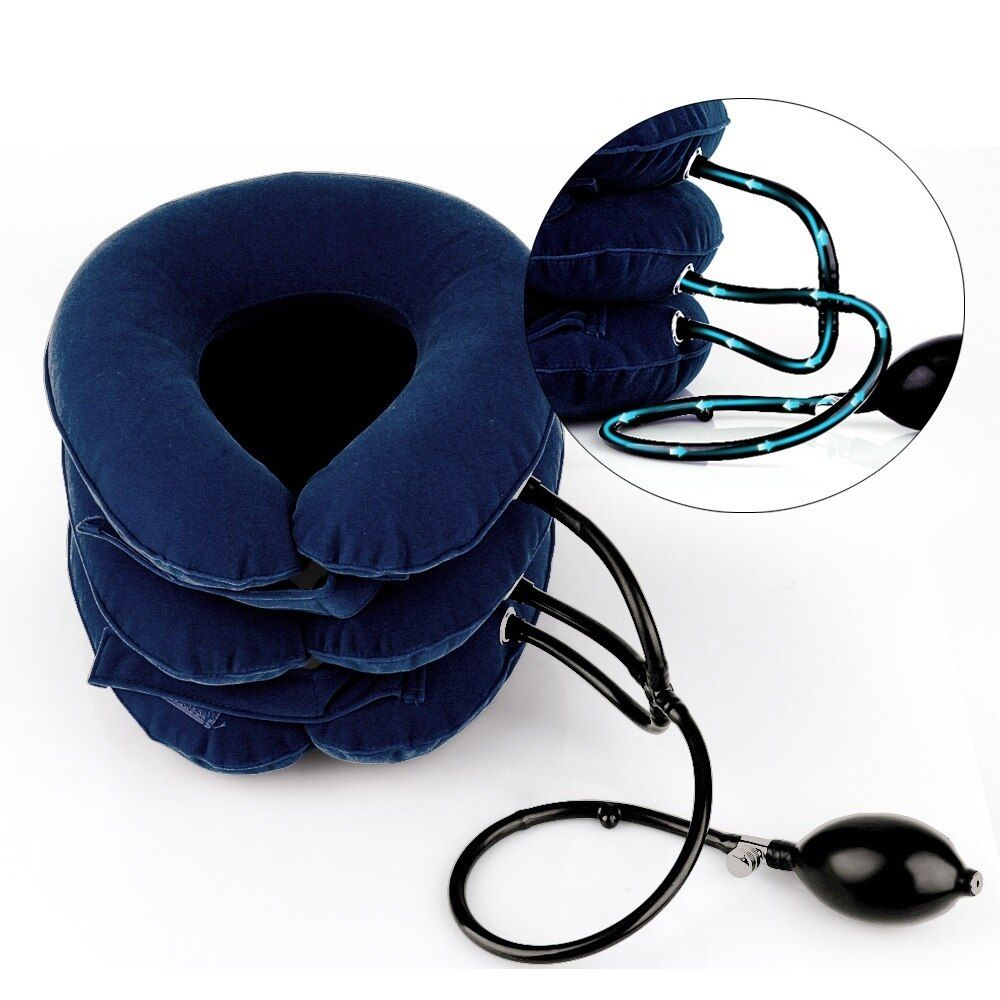 US Stock Universal Size Inflatable Cervical Neck Back Traction Device for Pain Relief Neck Head Stretcher Pillow Pain Releave