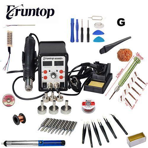 New Eruntop 8586D+ Double Digital Display Electric Soldering Irons +Hot Air Gun SMD Rework Station Upgraded from 8586