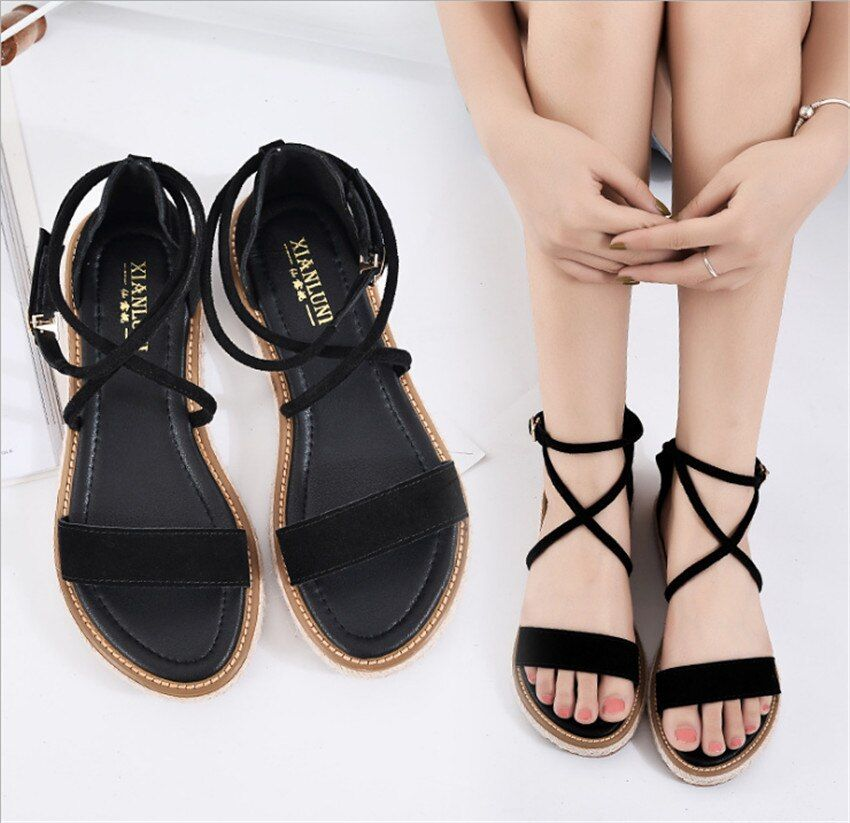 MLCRIYG Fairy flat sandals female summer contracted cross strap joker han edition with apple