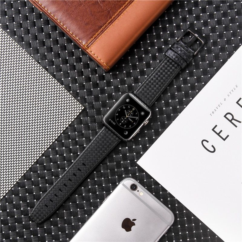 Pour Apple Watch Series 4 3 2 1 bandes en cuir véritable bande de remplacement de Bracelet en Fiber de carbone pour iWatch 38mm 42mm 40mm 44mm Bracelet