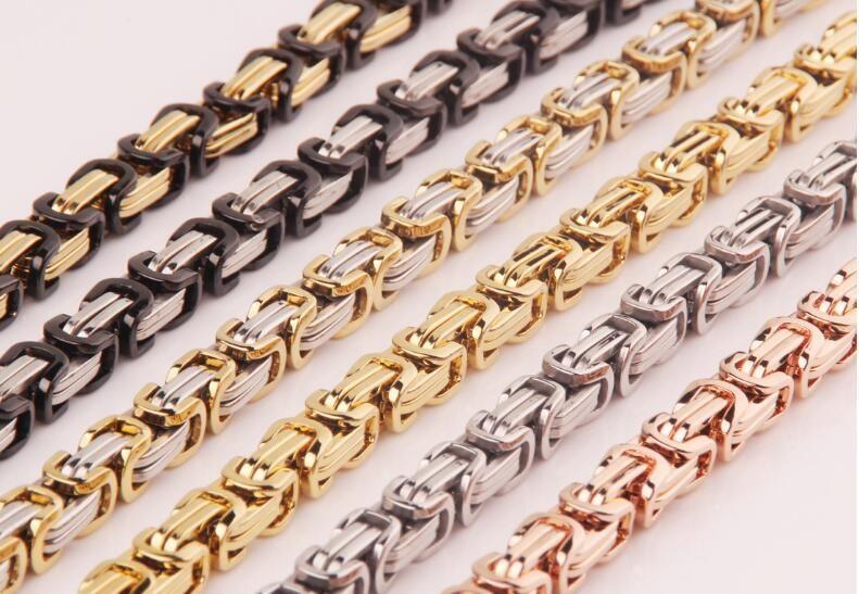 Promotion! hommes de deux-couleur Or Chaîne collier En Acier Inoxydable 8mm Largeur Byzantine En Gros Haute Qualité