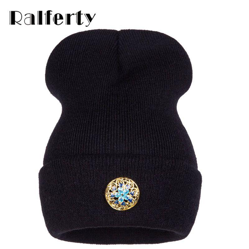 Ralferty 2017 Cloisonne Floral Sombreros de Invierno Para Las Mujeres Hip Hop Skullies gorros Beanie Hat Caps capó Mujer femme Sport gorras