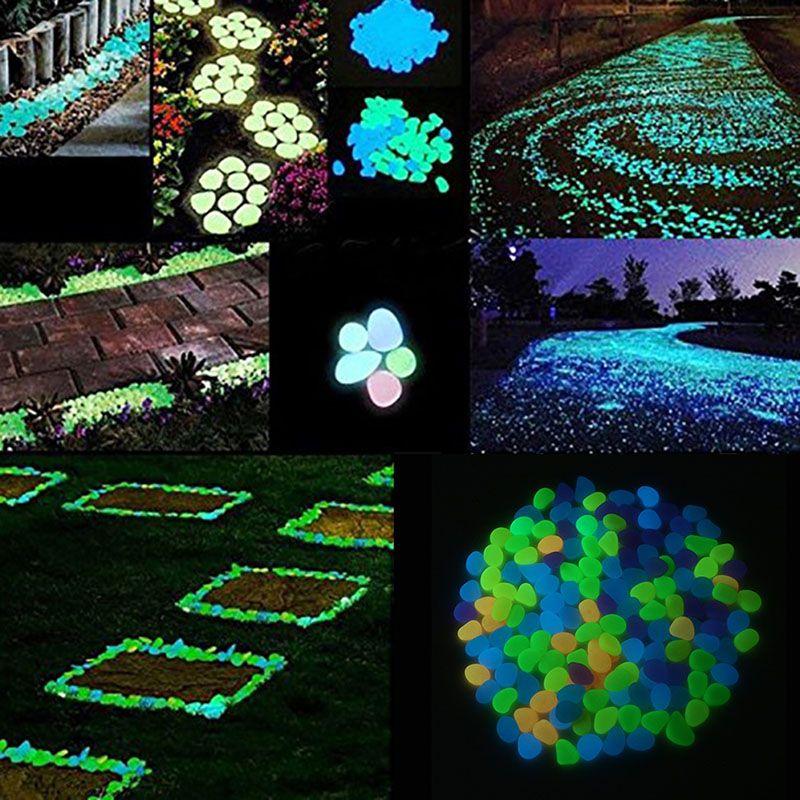 100pcs Garden Decorations Crafts Glow In The Dark Luminous Stones Glow In The Dark Pebbles Garden Fish