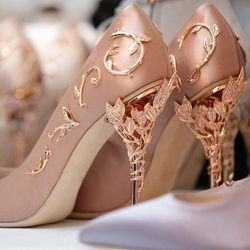 Boussac Elegant Silk Women Pumps High Heels Rhinestone Flower Wedding Pumps Brand Design Pointed Toe High Heels Shoes SWB0074