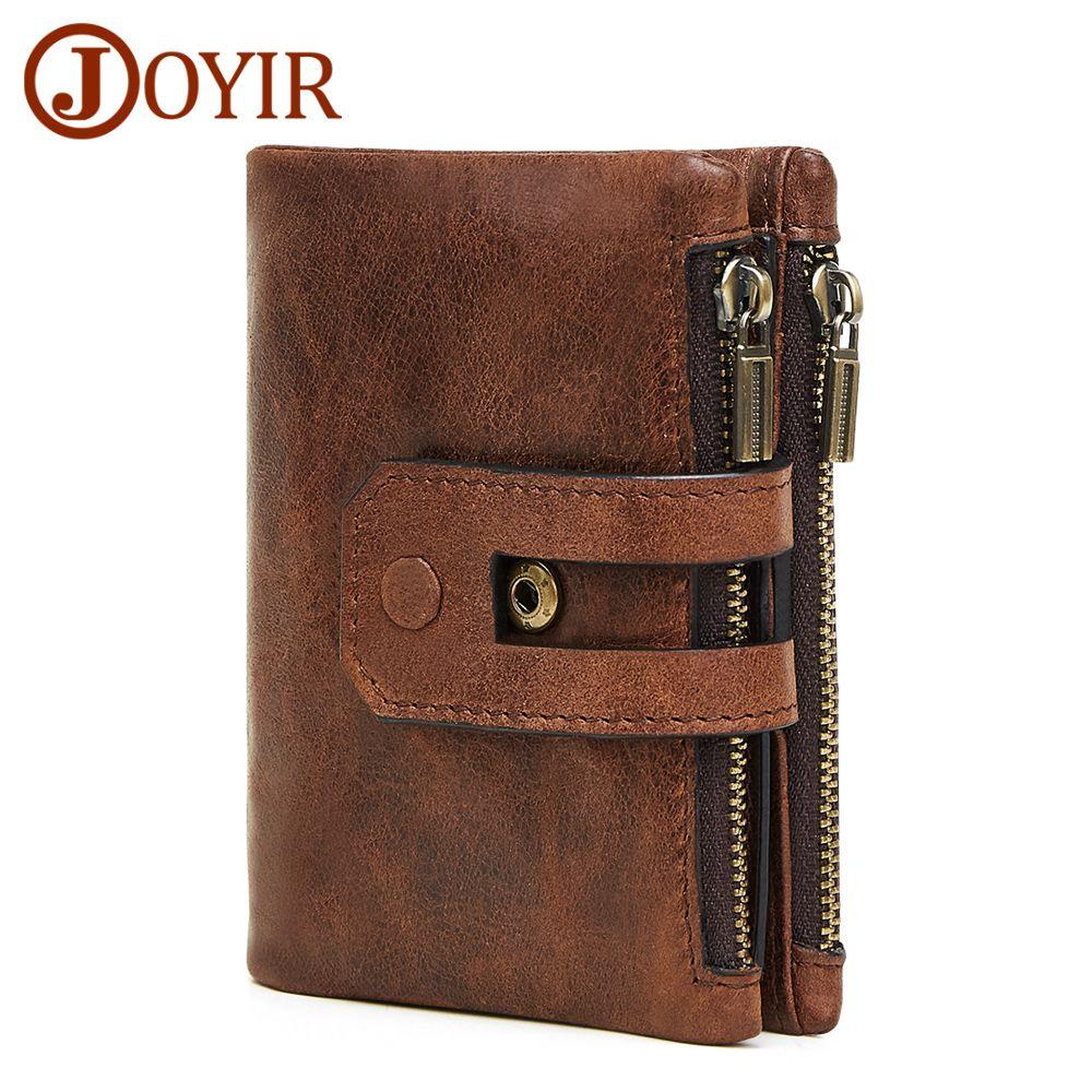 JOYIR Brieftasche Männer Leder Echtes Vintage Geldbörse Reißverschluss & Haspe Männer Brieftaschen Kleine Perse Solide RFID Kartenhalter Carteira Hombre