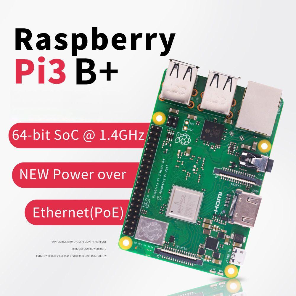 Raspberry Original Pi 3 modèle B + RPI 3 B plus avec 1 GB BCM2837B0 1.4 GHz bras Cortex-A53 soutien WiFi 2.4 GHz et Bluetooth 4.2