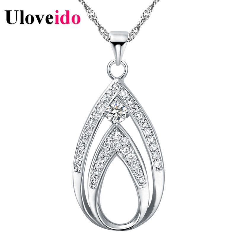 Uloveido Brincos 2017 Halskette Frauen Silber Zirkonia Wassertropfen Halsketten & Anhänger Collier Femme Suspension Geschenke N702