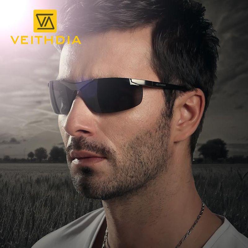 VEITHDIA marque hommes lunettes de soleil polarisées sans monture Rectangle conduite lunettes miroir Sport hommes lunettes de soleil pour hommes 6501