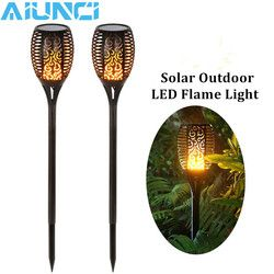 LED Solar Flame Flickering Lawn Lamps Led Torch Light Realistic Dancing Flame Light Waterproof Outdoor Garden Decor Flame Lamp