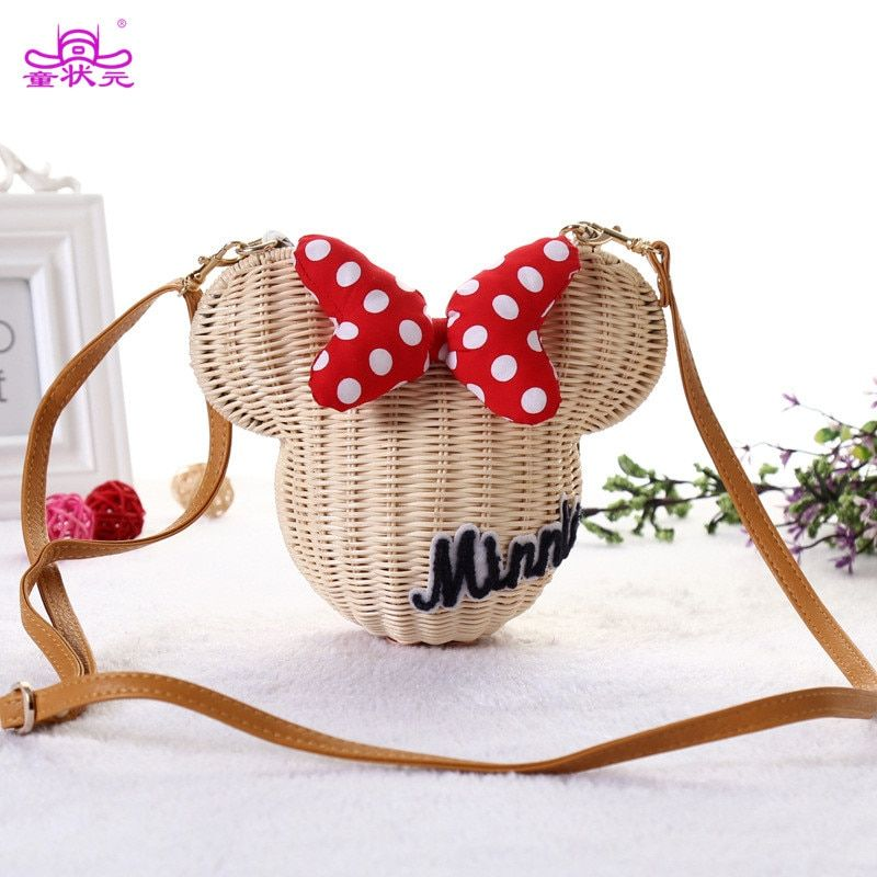 TZY New Style Minnie Mouse Handmade Rattan Bag Cartoon Women's Purse Lovely Girl Straw Beach Shoulder Bag Vintage Casual Bucket