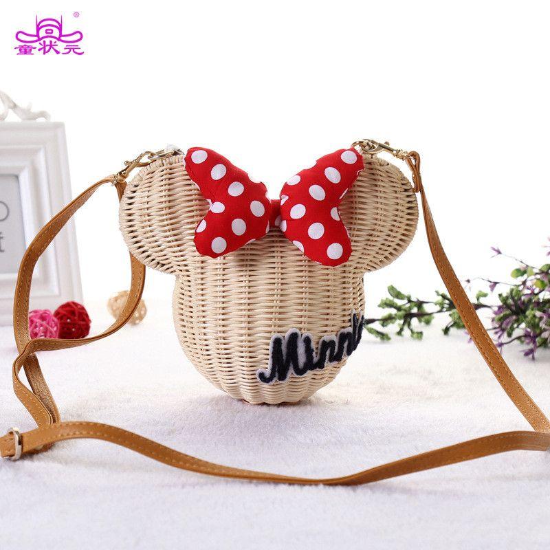 TZY nouveau Style Minnie Mouse fait à la main en rotin sac bande dessinée sac à main pour femme belle fille paille plage sac à bandoulière Vintage décontracté seau