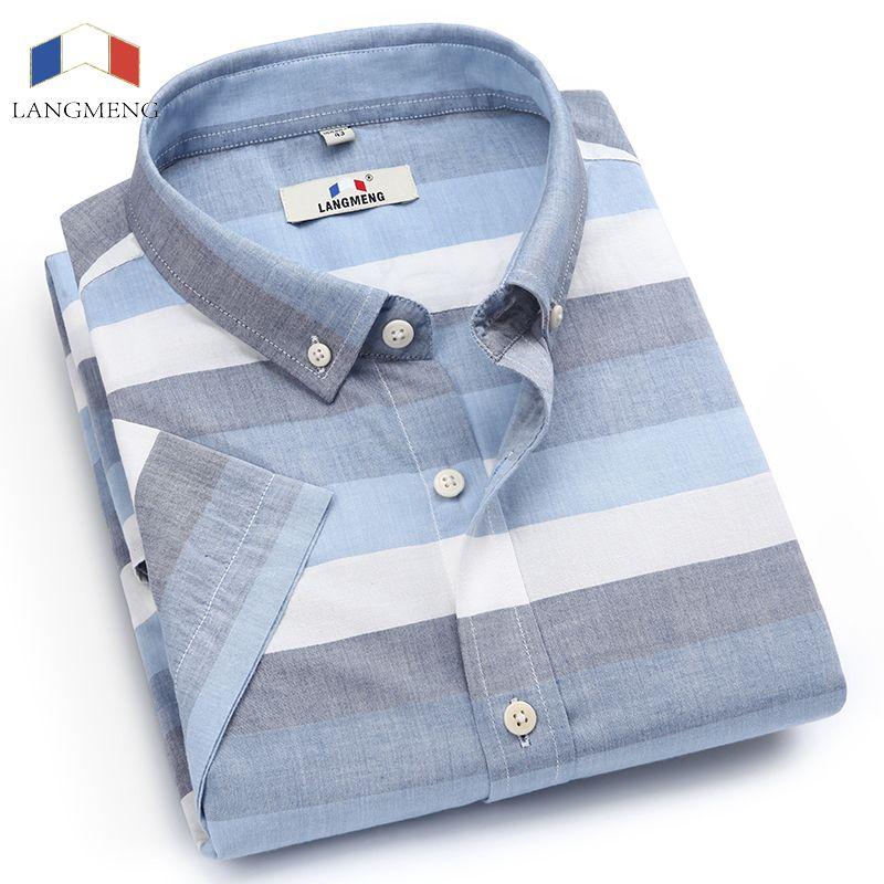 Langmeng tout nouveau coton lin été Slim Fit chemises décontractées à manches courtes rayé chemise sociale hommes robe chemises chemise homme
