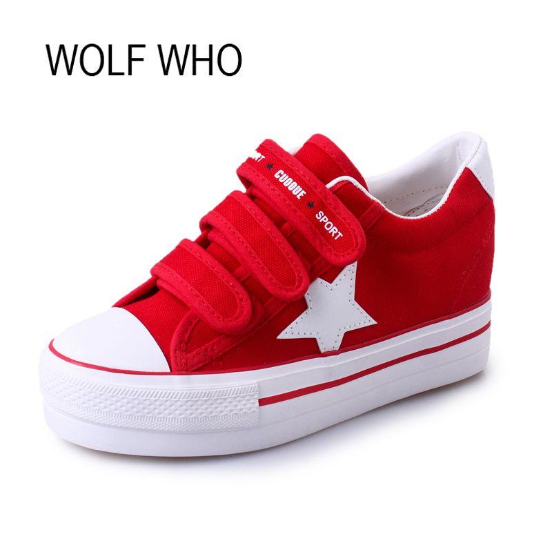 Волк, который холст Creeper платформы Женские кроссовки красовки дамы женская обувь Tenis Feminino Повседневное Basket Femme h-105