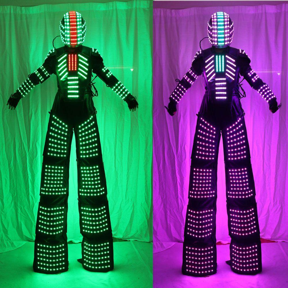 Stelzen Wanderer Led-leuchten Kostüme, LED Tänzerin Kostüm LED Roboter Anzug Für Party Leistung Elektronische Musik Festival DJ Zeigen