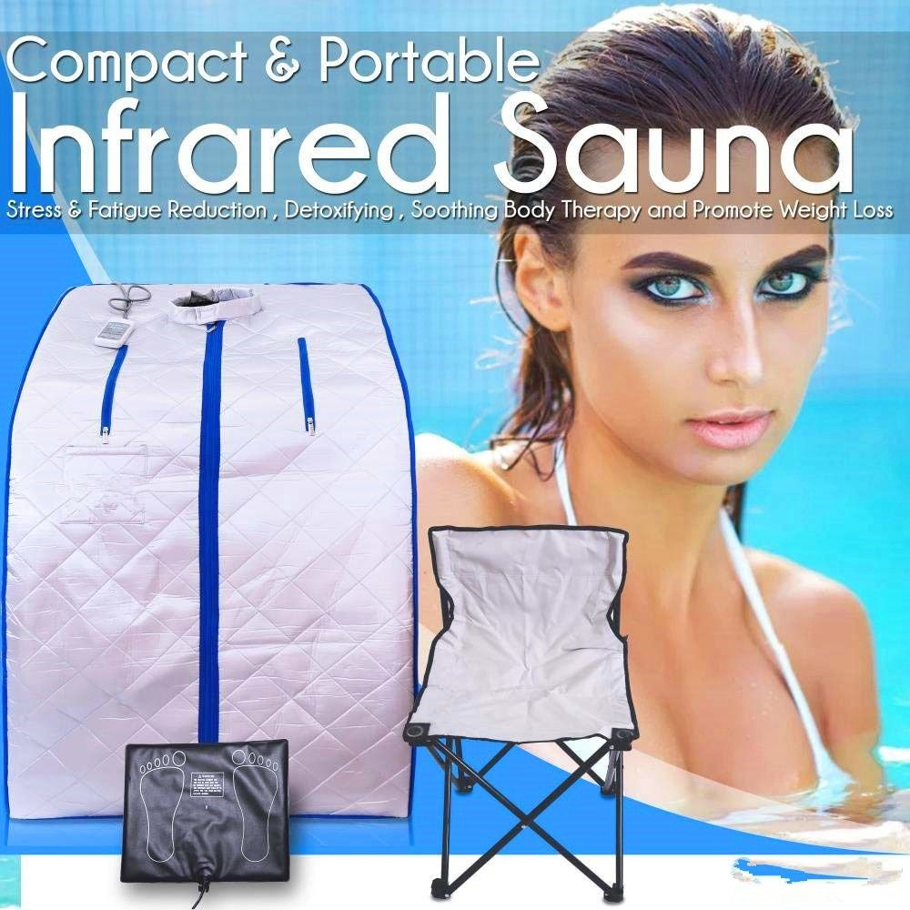 Portable Far Infrared Spa Sauna Slimming Weight Loss Negative Ion Detox Therapy Personal Sauna Room Folding Chair