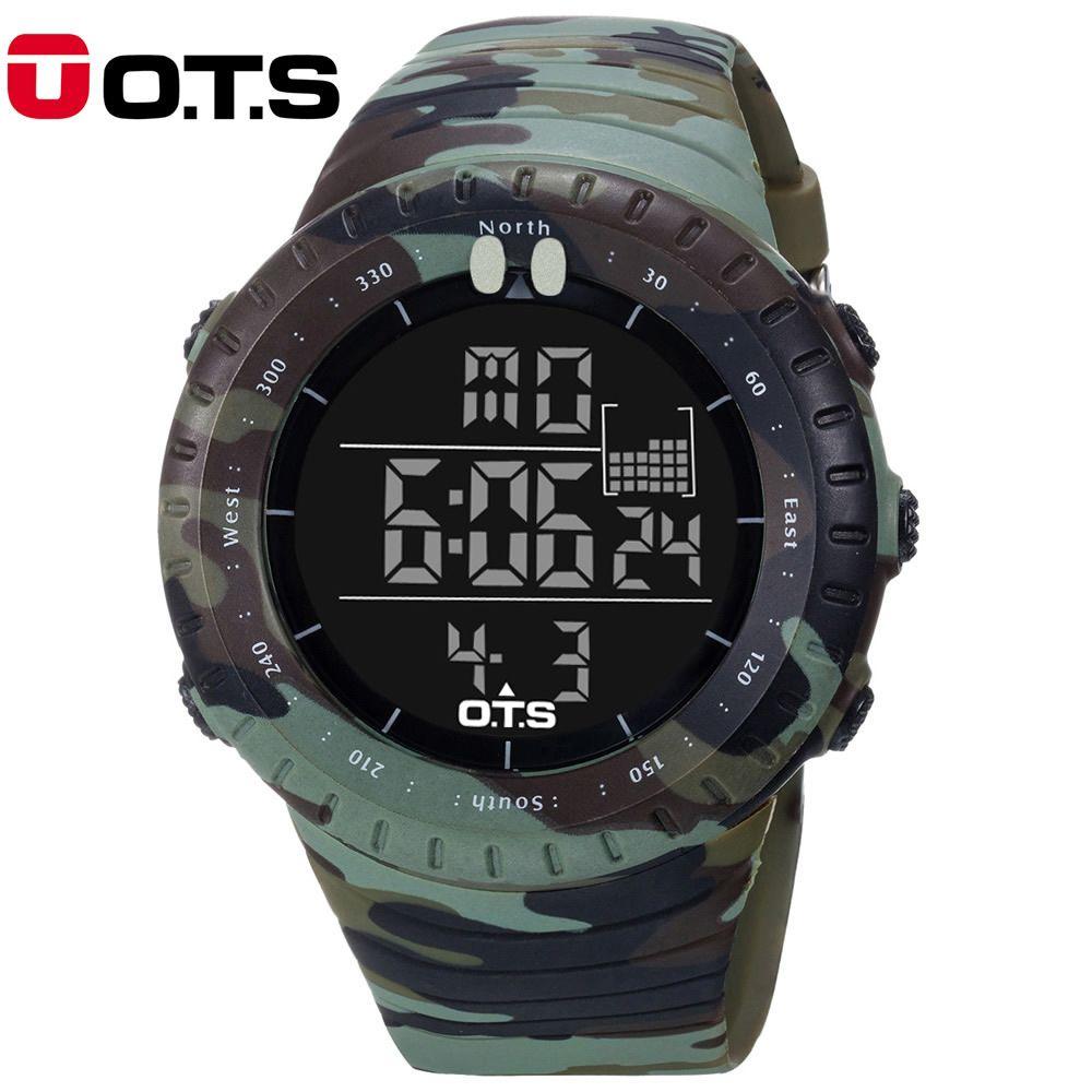 OTS Новинка 2017 года цифровые часы Для мужчин Спортивные часы LED Военная Униформа армия камуфляж наручные часы для мальчика Водонепроницаемый...