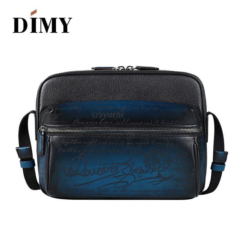 DIMY Men's Genuine Leather Messenger bags Fashion Vintage Double Zipper Men Diagonal Handbags Business Casual Shoulder Bags
