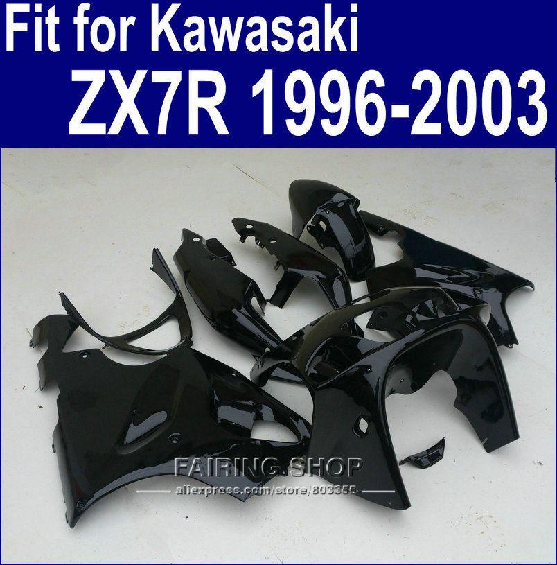 Alle Schwarz lackiert Verkleidungen Für Kawasaki ninja ZX7R 1996 1997 1998 2002 2003 (benutzerdefinierte frei) 96 01 02 03 Verkleidung kit a35