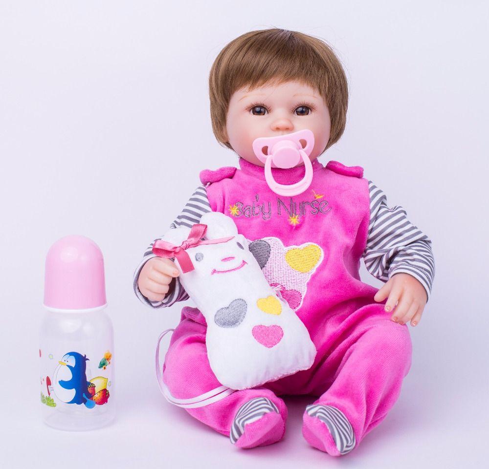 <font><b>40cm</b></font> Soft Body Silicone Reborn Baby Doll Toy For Girls Vinyl Newborn Girl Babies Dolls Kids Child Gift Girl Brinquedos