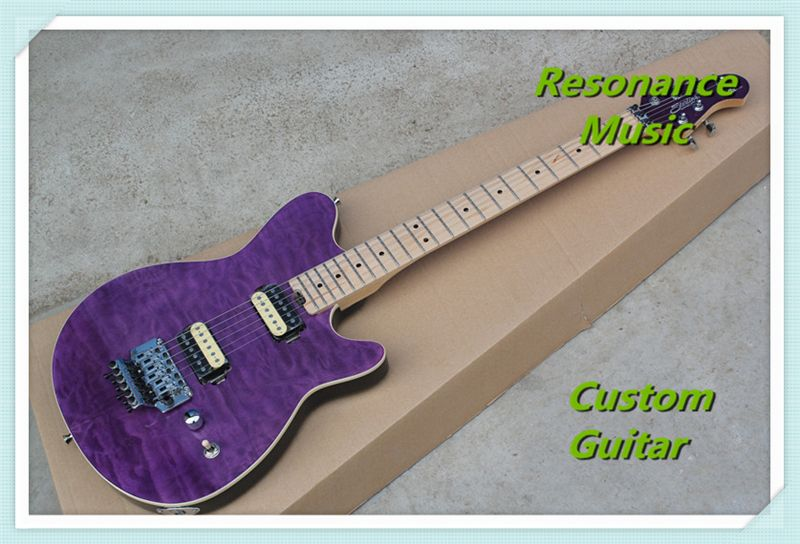 New Arrival Music Man Axis Electric Guitar Purple Vivid Quilted Maple Grains With Floyd Tremolo