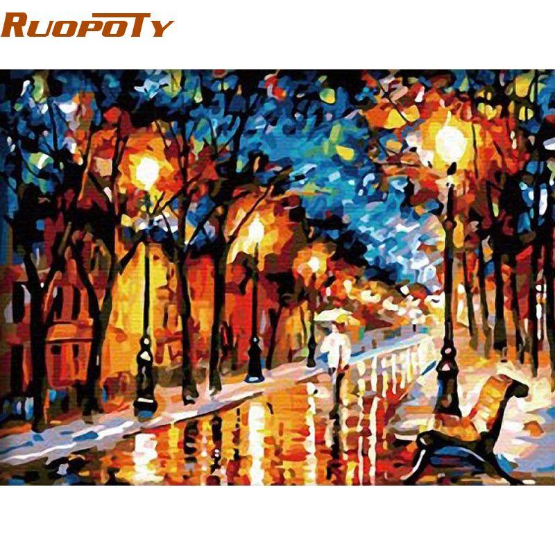 RUOPOTY marche pluie peinture à la main par numéros abstraite moderne peint à la main peinture à l'huile sur toile maison mur décor pour salon
