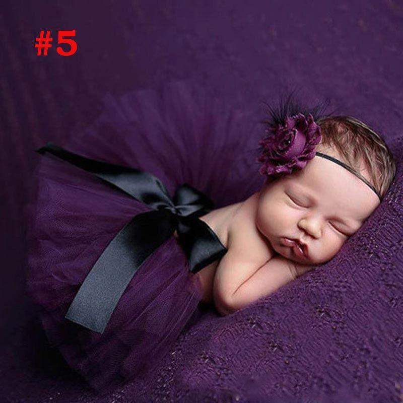 Princess Newborn flower headband and tulle tutu baby photo fotografia prop accessory fashion ball gown