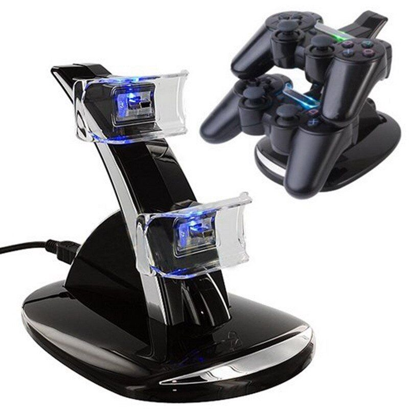 New USB LED Blue Light Dual Charger Controller Station Stand Gamepad Charger Charging Dock For Sony PS3 Wireless Controller